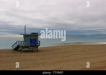 Lifeguard hut on a winters day at Malibu beach - Stock Photo