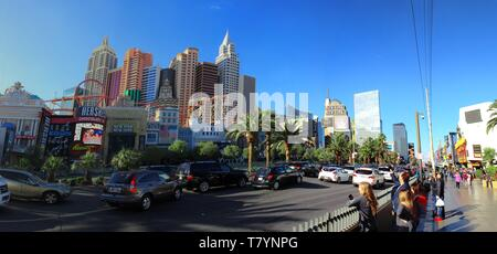LAS VEGAS, NV, USA - FEBRUARY 2019: Panoramic view in Las Vegas with the New York New York Hotel on the left and the MGM Grand Hotel on the right. - Stock Photo