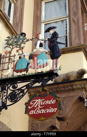 France, Bas Rhin, Strasbourg, Quai Saint Nicolas, Musee Alsacien, sign - Stock Photo