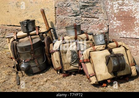 France, Territoire de Belfort, Belfort, citadel, Festival of Living History, historical events in summer, the First World War, the pack of French soldiers - Stock Photo