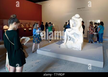 France, Paris, Grand Palais museum, exhibition of the centenary (of the death) of Auguste Rodin, The Kiss marble sculpture by Auguste Rodin - Stock Photo