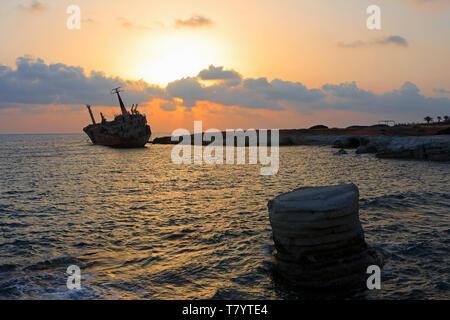 The M/V Edro III shipwreck resting off the rocks near the Sea Caves just outside Pegeia, Cyprus since 2011 - Stock Photo