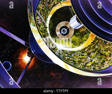 Space Colony Poster, 1970s - Stock Photo