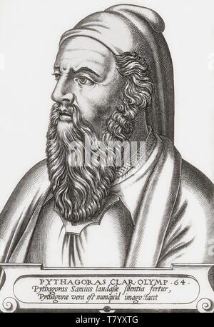 Pythagoras of Samos, c. 570-c. 495 BC. Ionian Greek philosopher, mathematician and founder of the religious movement called Pythagoreanism.  Imaginary portrait.  After 19th century reproduction of a 16th century work. - Stock Photo