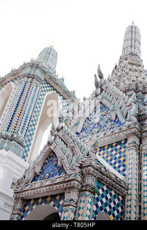 Gandhara Buddha Viharn chapel building exterior detail with turquoise mosaic tiles in Wat Phra Khao temple of Grand Palace complex in Bangkok, Thailan - Stock Photo