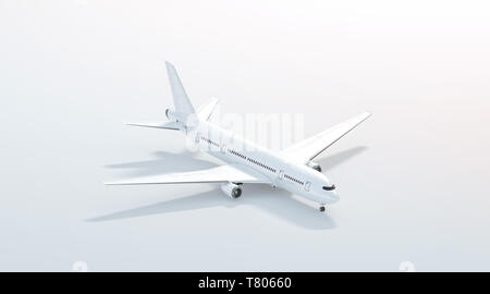 Blank white airplane mock up stand, side view isolated, 3d rendering. Clear plain air plane isometric mockup template. Empty avia aeroplane model for logo design branding. - Stock Photo