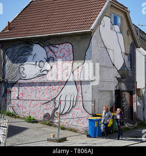 A wonderful way to discover the city of Stavanger, as you hunt down urban art in the most unlikely places. - Stock Photo