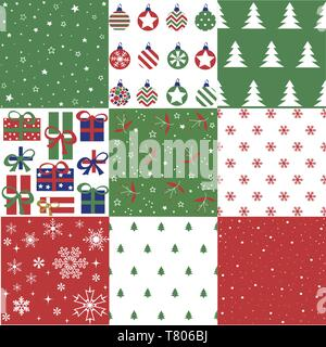 Christmas patten set and vector illustration - Stock Photo