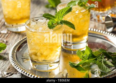 Homemade Kentucky Bourbon Mint Julep in a Glass - Stock Photo