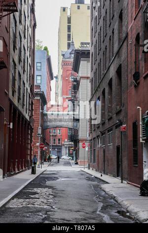 NEW YORK, NY - APRIL 30, 2019:  Staple Street Skybridge between Jay and Harrison Street. - Stock Photo