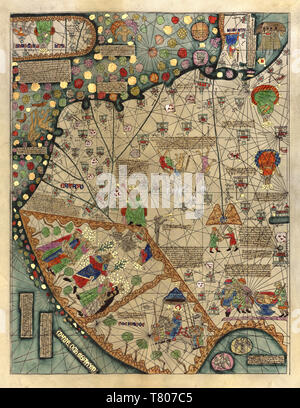 Abraham Cresques, Catalan Atlas, 1375 Stock Photo
