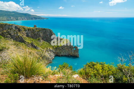 Scenic seascape with cliffs at Palinuro, Cilento, Campania, southern Italy. - Stock Photo