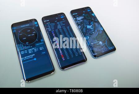 Smartphones with Galileo GPS satnav - Stock Photo
