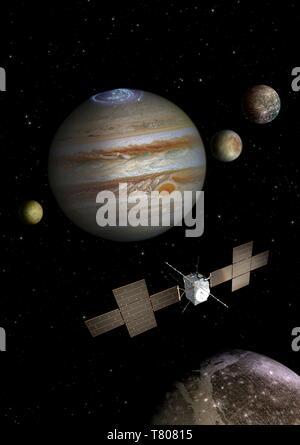 Jupiter Icy Moons Explorer JUICE mission, artwork - Stock Photo