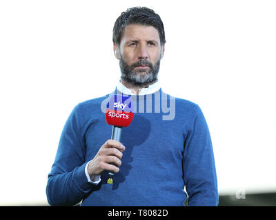Lincoln City manager Danny Cowley working for SKY Sports before the game between Newport County and Mansfield Town during the Sky Bet League Two Play-Off First Leg match at Rodney Parade, Newport. - Stock Photo