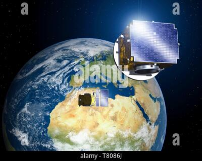 PROBA-3 satellites in orbit, artwork - Stock Photo