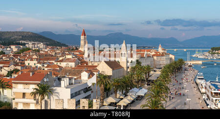 View of the old town and seafront from Karmelengo tower, Trogir, Split-Dalmatia county, Croatia, Europe - Stock Photo