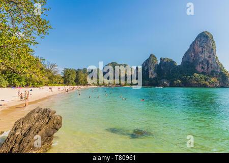 Railay beach and karst scenery in Railay, Ao Nang, Krabi Province, Thailand, Southeast Asia, Asia - Stock Photo