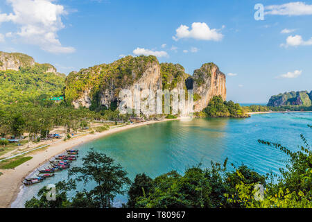 Tonsai beach and karst landscape in Railay, Ao Nang, Krabi Province, Thailand, Southeast Asia, Asia - Stock Photo
