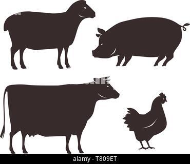 Farm animals set. Farming, silhouette vector illustration - Stock Photo