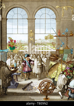Louis XIV Visiting Royal Academy of Sciences, 1671 - Stock Photo