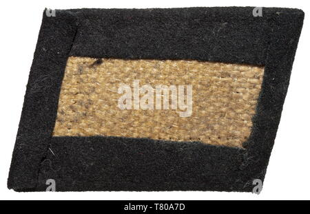 A right collar patch for enlisted men/NCOs of the SS Reiter- Standarte 3 (Treuberg) made of black cloth with light embroidery. Unissued. historic, historical, 20th century, troop, troops, SS, Schutzstaffel, Editorial-Use-Only - Stock Photo