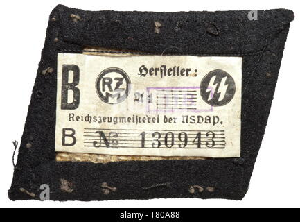 A right collar patch for enlisted men/NCOs of the SS medical detachment of the dispositional troops of black wool felt with light embroidery, the reverse with a paper SS RZM tag. historic, historical, 20th century, troop, troops, SS, Schutzstaffel, Editorial-Use-Only - Stock Photo