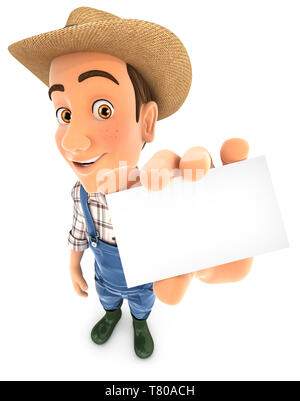3d farmer holding business card, illustration with isolated white background - Stock Photo