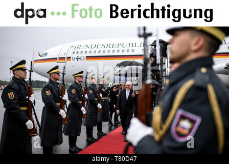 Laibach, Slovenia. 06th Apr, 2019. IMPORTANT - Dear customers, some of the pictures from the Federal President's trip to Slovenia were accidentally taken on the wrong date (06.04.2019). Actually the pictures were taken today rpt today (09.05.2019). The photos will be sent to you again with the corrected shooting date. We apologize for the mistake. Yours sincerely, Your dpa photo editor - Tel. 030 2852 31515 Credit: Britta Pedersen/dpa-Zentralbild/dpa/Alamy Live News - Stock Photo