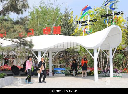 Beijing, China. 10th May, 2019. People visit the Hebei Garden during the 'Hebei Day' theme event held as part of the Beijing International Horticultural Exhibition in Yanqing District, Beijing, capital of China, May 10, 2019. Credit: Ren Pengfei/Xinhua/Alamy Live News - Stock Photo