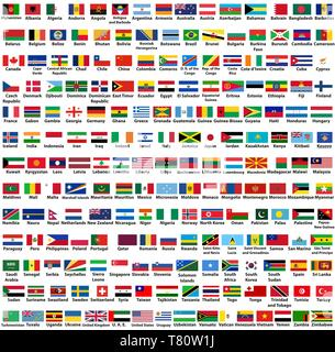 vector set of all world countries (sovereign states) flags, arranged in alphabetical order - Stock Photo