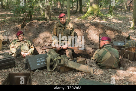 Woodhall Spa 1940s world war two festival re-enactment weekend. Three paratroopers sitting in a foxhole surrounded by woodland, and ammunition boxes - Stock Photo