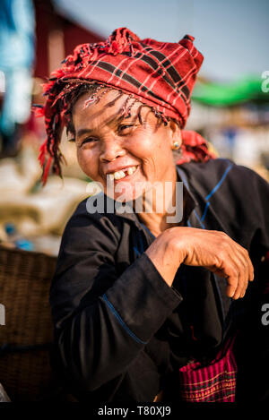 Portrait of Pa-O woman at Ywama Market, Inle Lake, Shan State, Myanmar (Burma), Asia - Stock Photo