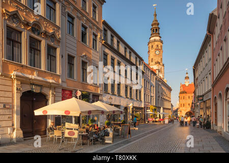 Bruederstrasse with Tower of the Old Town hall, Goerlitz, Saxony, Germany, Europe - Stock Photo