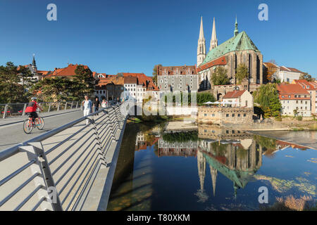 Bridge over Neisse River to the old town and St. Peter and Paul Church, Goerlitz, Saxony, Germany, Europe - Stock Photo