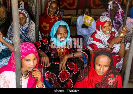Very colourful dressed Toubou women, tribal festival, Place de la Nation, N'Djamena, Chad, Africa - Stock Photo