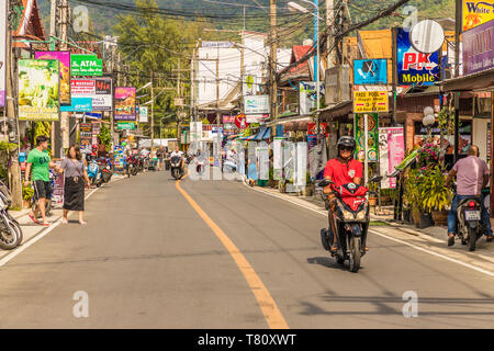 The main street, Rim Hat Road, in Kamala in Phuket, Thailand, Southeast Asia, Asia - Stock Photo