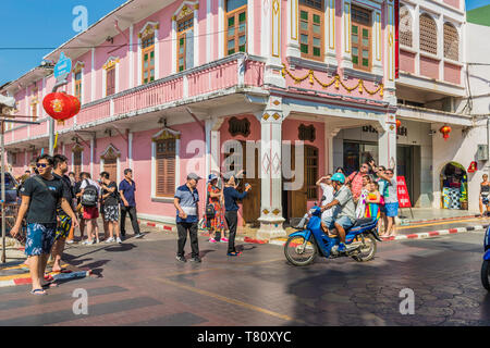 Beautiful Sino-Portuguese architecture on Soi Romanee (road) in Phuket old town, Phuket, Thailand, Southeast Asia, Asia - Stock Photo