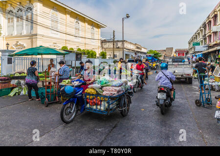 A market scene at the 24 hour local fresh food market in Phuket Town, Phuket, Thailand, Southeast Asia, Asia - Stock Photo