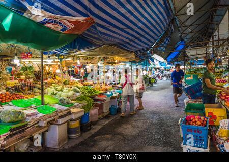 Market stalls at the 24 hour local market in Phuket Town, Phuket, Thailand, Southeast Asia, Asia - Stock Photo