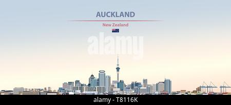 Auckland city skyline on beautiful daytime background vector illustration - Stock Photo