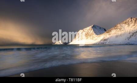 A dramatic Haukland Beach, Lofoten, Nordland, Norway, Europe - Stock Photo