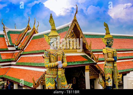 Detail of guardian statues, Grand Palace and Wat Phra Kaew (Temple of the Emerald Buddha) complex, Bangkok, Thailand, Southeast Asia, Asia - Stock Photo