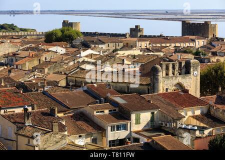 France, Gard, Regional Natural Park of Camargue, Aigues Mortes, The Ramparts - Stock Photo