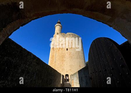 France, Gard, Regional Natural Park of Camargue, Aigues Mortes, the Tower of Constance - Stock Photo