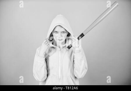 Warrior. Sport equipment. Athletic fitness. Fighting with aggression. aggressive woman warrior with bat. Street life. Sporty girl fighter. woman warrior workout with baseball bat. inner warrior in me. - Stock Photo