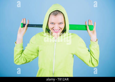 Energy inside her. Sport equipment. Athletic fitness. woman workout with baseball bat. happy woman with bat. Fighting with aggression. Street life. Sporty girl fighter. she is full of energy. - Stock Photo