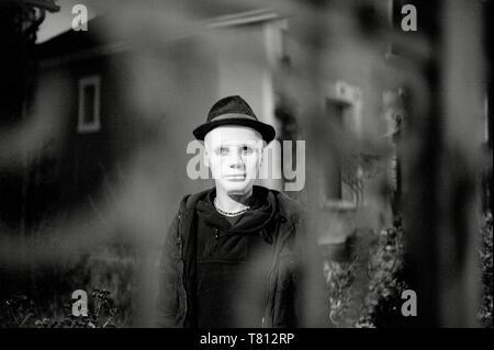 mask - masked man - wash mask- man with hat - black and white photography © nod-photos - Stock Photo
