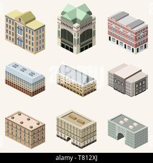 vector collection of 3d isometric buildings. Isolated icons set - Stock Photo