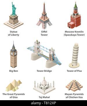 Famous world landmarks vector isometric high detailed isolated icons - Stock Photo